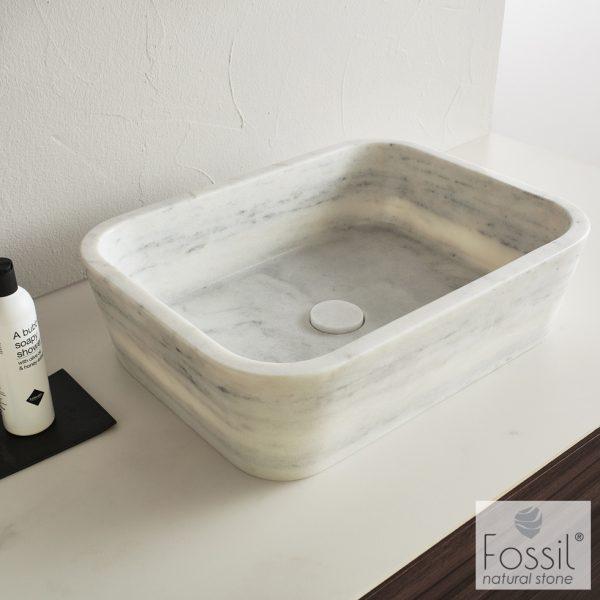Επιτραπεζιος μαρμαρινος νιπτηρας Fossil Gaia Marble DS Carrara Nuovo