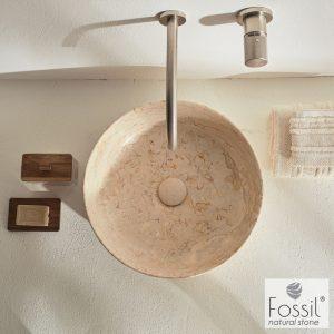 Επιτραπεζιος μαρμαρινος νιπτηρας Fossil Jetti Marble MR39 Beige