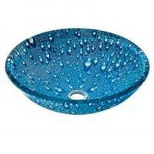 Μπλε Γυάλινος Νιπτήρας Gloria Blue Drops 66-8316