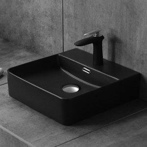 Μαύρος Νιπτήρας Τετράγωνος Ceramita Slim Black