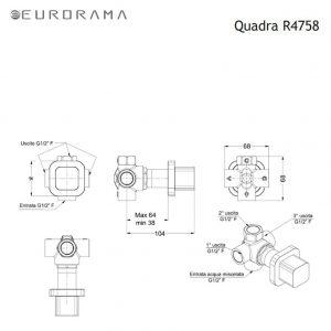Eurorama Quadra R4758 Black Matt - Εκτροπέας εντοιχισμού 3 εξόδων