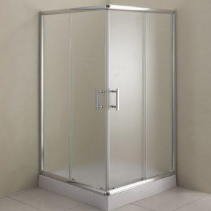 Παραλληλόγραμμη καμπίνα μπάνιου με ματ γυαλί