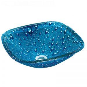 Γυάλινος Νιπτήρας Gloria Glass Blue Drops 67-8329
