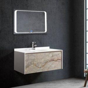 Έπιπλο μπάνιου από corian και φυσική πέτρα