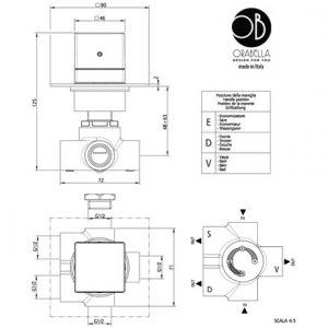 Orabella 73124 Εκτροπέας διανομεας εντοιχισμού 3 εξοδων τετραγωνος