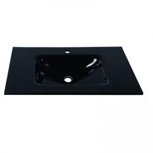 Black γυάλινος νιπτήρας μαύρος