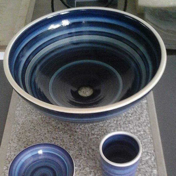 Επιτραπέζιος Νιπτήρας Μπάνιου Χειροποίητος Blue Stripes 40