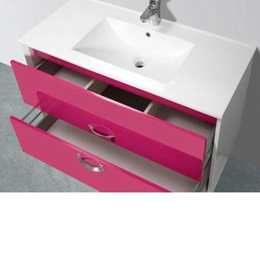 Ροζ έπιπλο μπάνιου με 2 συρτάρια
