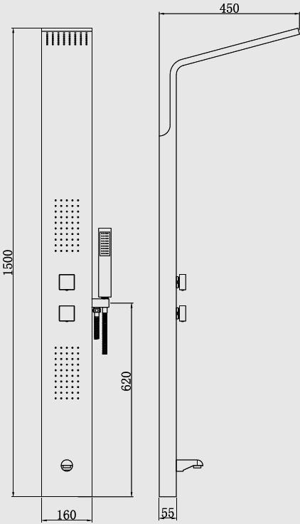 Karag-A 7022 Στήλη υδρομασάζ 4 εξόδων