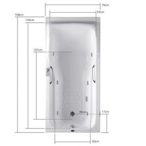 Ακρυλική μπανιέρα Υδρομασάζ Acrilan Aphrodite 170 x 80