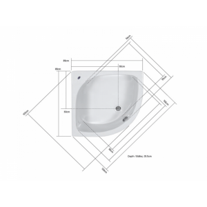 Γωνιακή μπανιέρα 90 x 90 Acrilan Mykonos