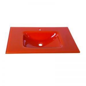 orange γυάλινος νιπτήρας πορτοκαλί