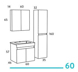 Omega 60 κρεμαστό έπιπλο μπάνιου