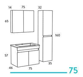 Omega 75 κρεμαστό έπιπλο μπάνιου