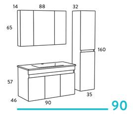 Omega 90 έπιπλο μπάνιου κρεμαστό