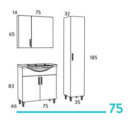 Έπιπλο μπάνιου Siena 75